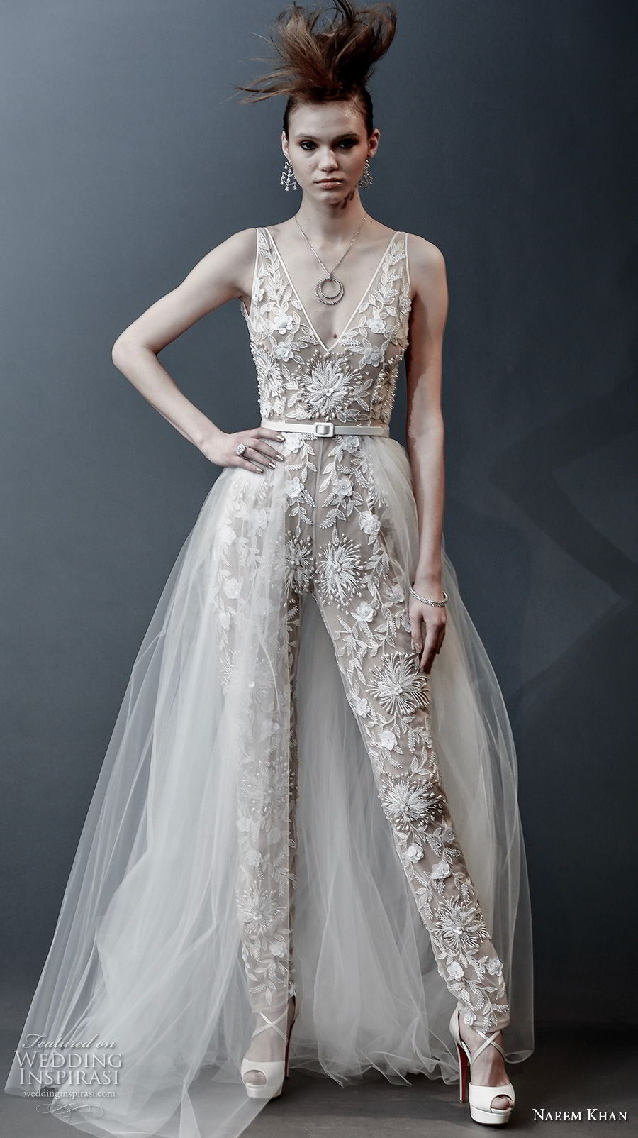 naeem khan spring 2019 bridal sleeveless v neck full embellishment modern jumpsuit wedding dress a line overskirt open v back sweep train (12) mv