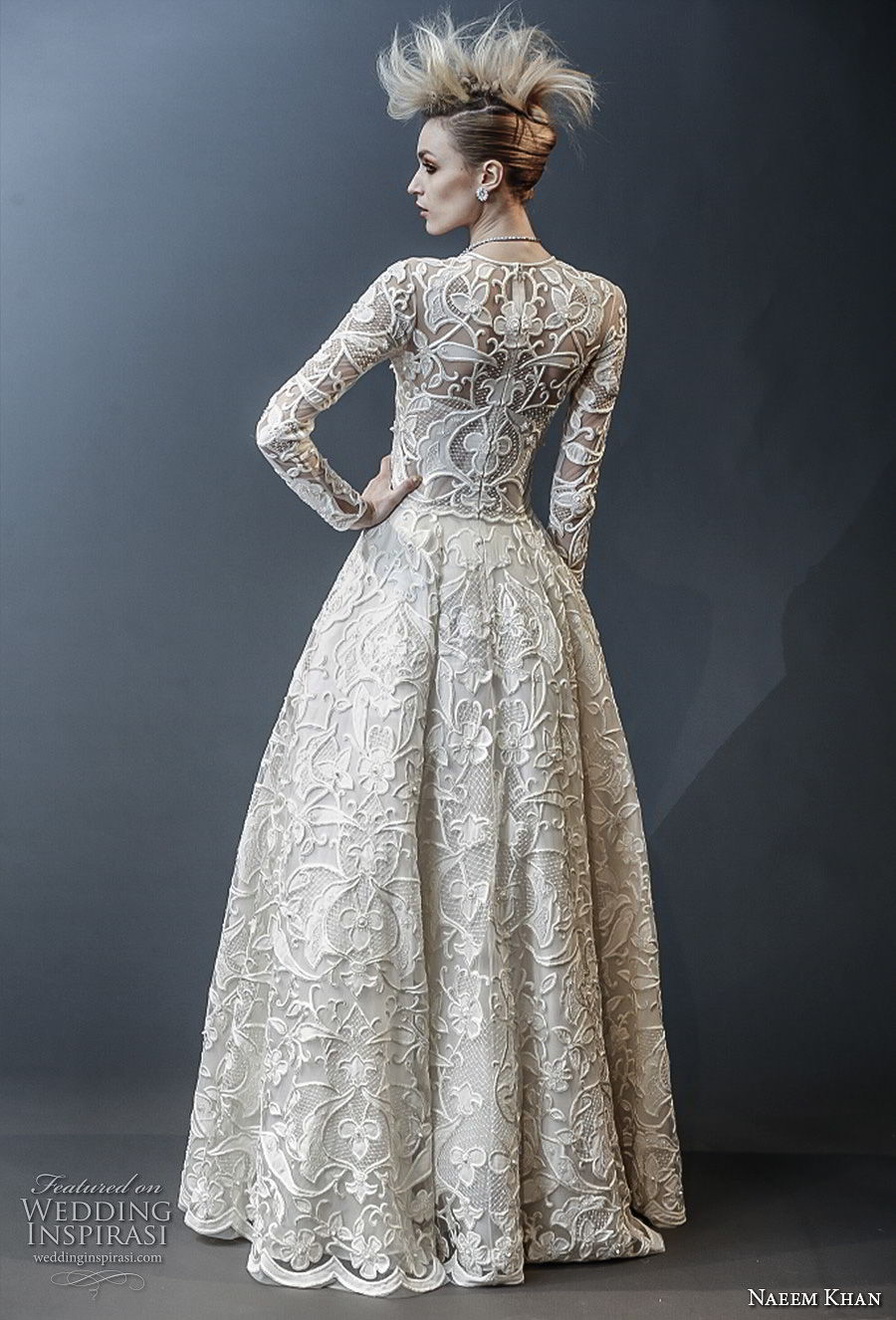 naeem khan spring 2019 bridal long sleeves jewel neck full embellishment modest princess ball gown a line wedding dress covered lace back sweep train (1) bv