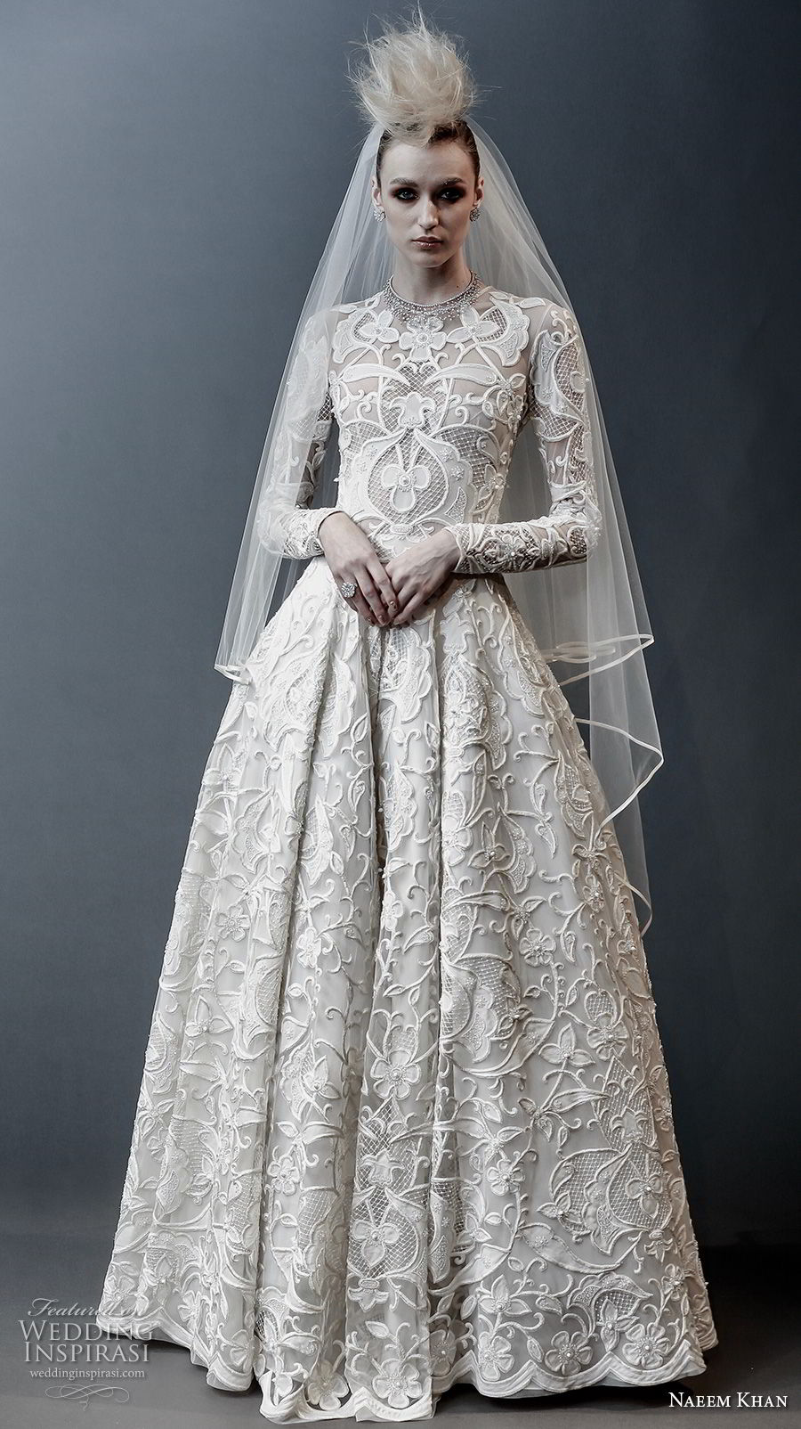 naeem khan spring 2019 bridal long sleeves jewel neck full embellishment modest princess ball gown a line wedding dress covered lace back sweep train (1) mv