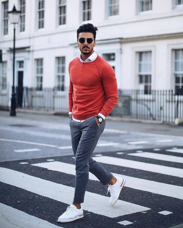Bold-colors-600x750 25 Outfits to Wear with White Sneakers for Men