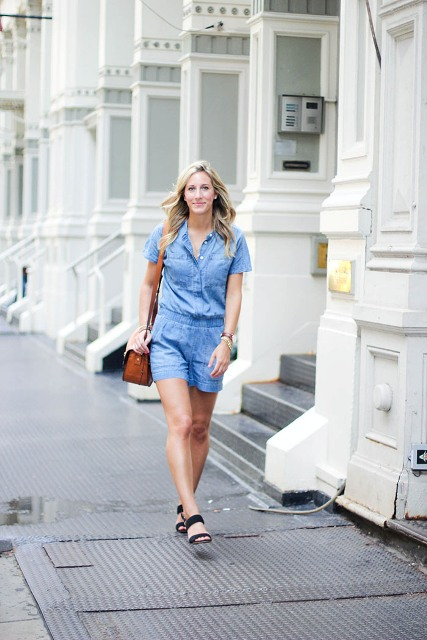 With brown bag and black sandals
