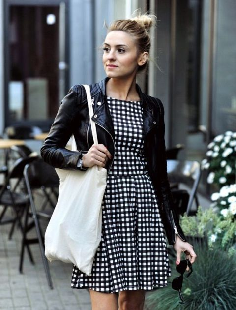 With checked dress and black leather jacket