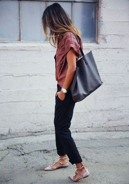 With shirt, black cuffed pants and flat shoes