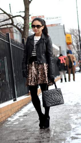 Playing-with-Sequins-283x500 How to Wear Leggings Under a Dress- 24 Legging Outfit Ideas