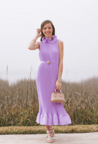 Pretty-Pleated-Dress-340x500 35 Best Ways to Wear Lilac Outfits For Women