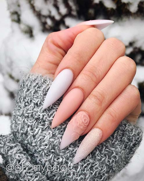 Matte Spring Stiletto Nails