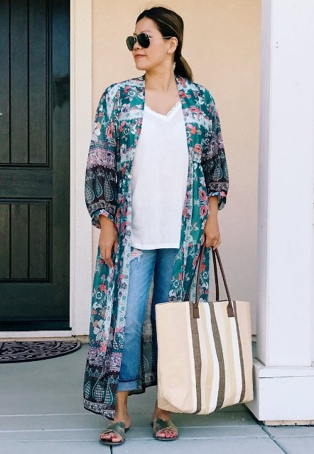 With white loose t-shirt, floral maxi cardigan, cuffed jeans and silver flat sandals