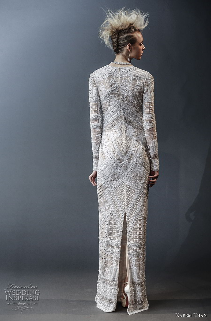 naeem khan spring 2019 bridal long sleeves deep v neck full embellishment glamorous modern column wedding dress covered back sweep train (9) bv