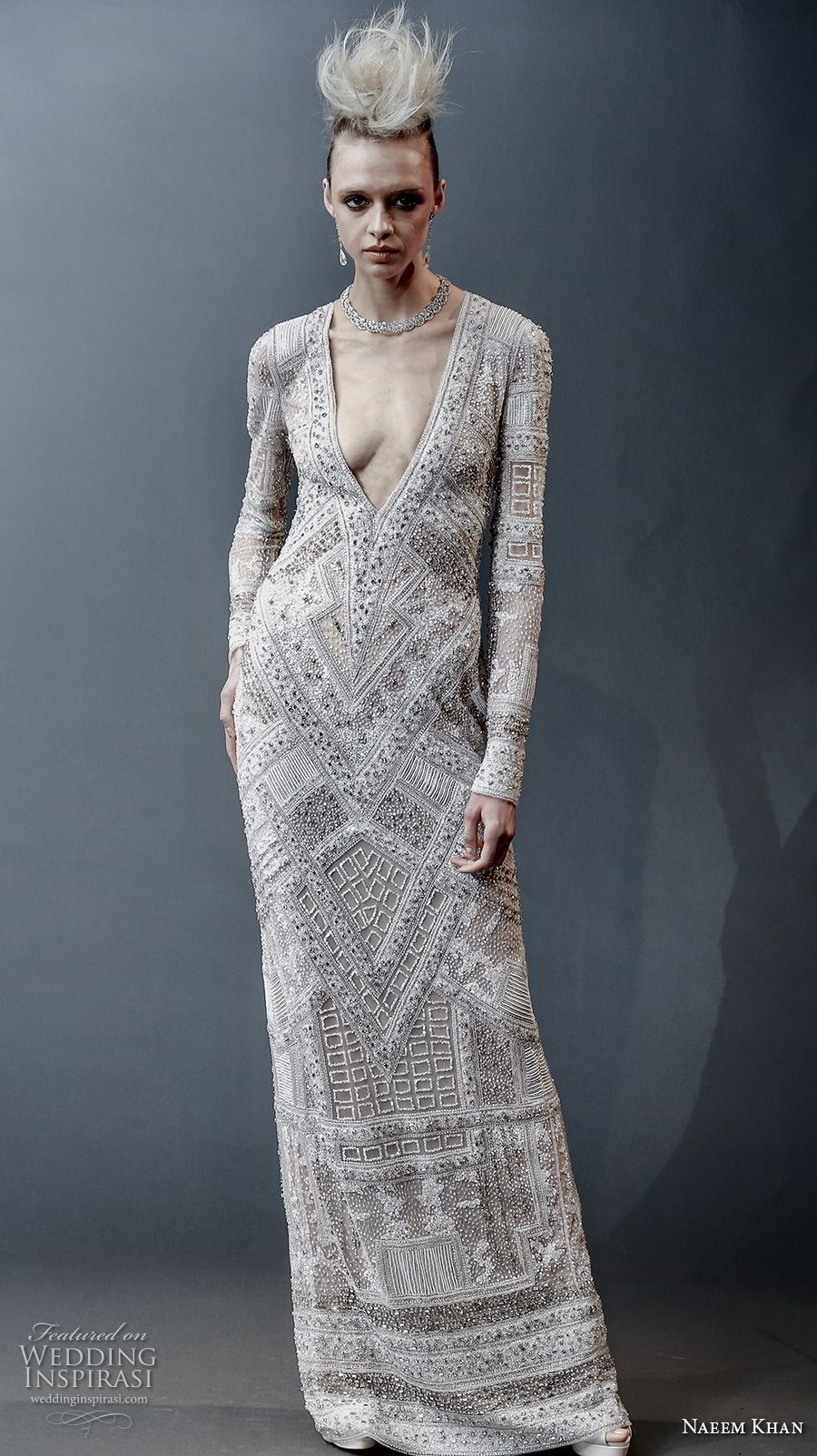 naeem khan spring 2019 bridal long sleeves deep v neck full embellishment glamorous modern column wedding dress covered back sweep train (9) mv