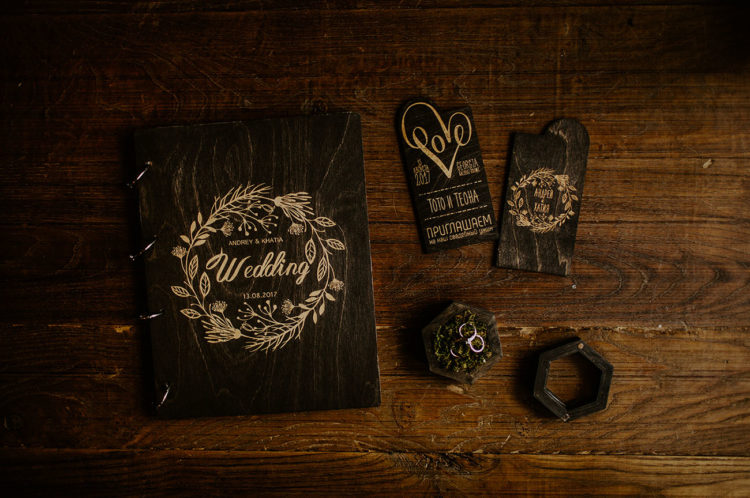 The wedding invitations and guest book were wooden ones
