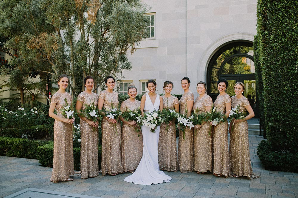 gold sequined bridesmaid dresses