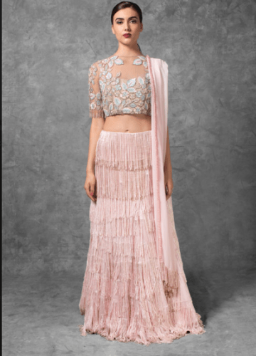 Transparent-crop-top-with-fringed-skirt-360x500 27 Latest Engagement Dresses for Women in India