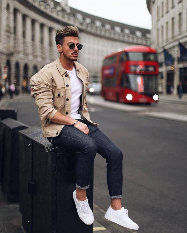Nude-Jackets-and-Dark-Colored-Jeans-600x750 25 Outfits to Wear with White Sneakers for Men