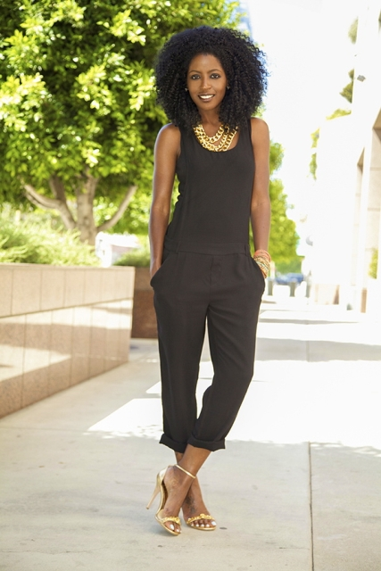 With black crop jumpsuit