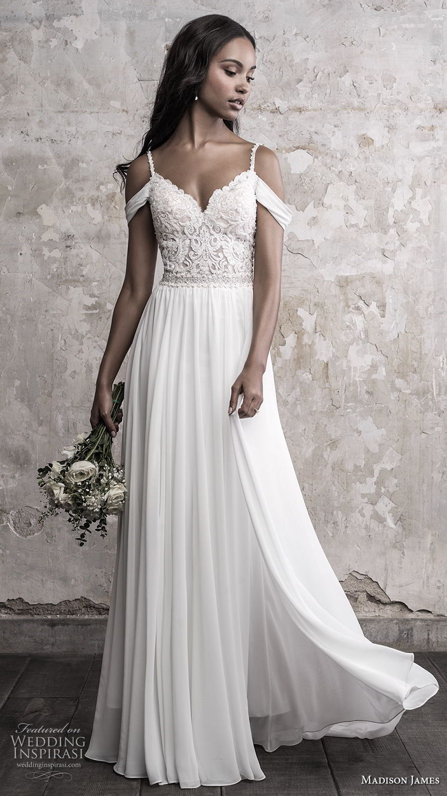 madison james fall 2018 bridal cold shoulder spaghetti strap sweetheart neckline heavily embellished bodice romantic soft a line wedding dress open back chapel train (8) mv