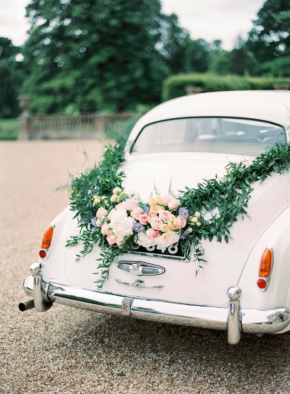 classic getaway car wedding garland