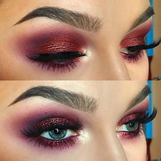 Bold, Burgundy Smokey Eye Makeup Look