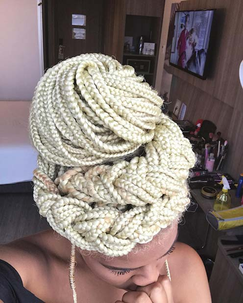 Blonde Box Braids Updo Idea