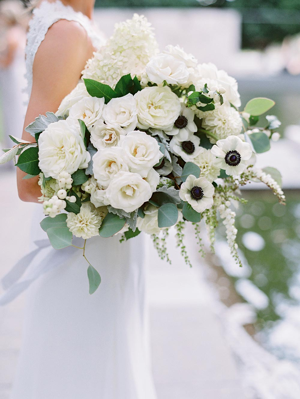 fall bridal bouquet with garden roses and anemones