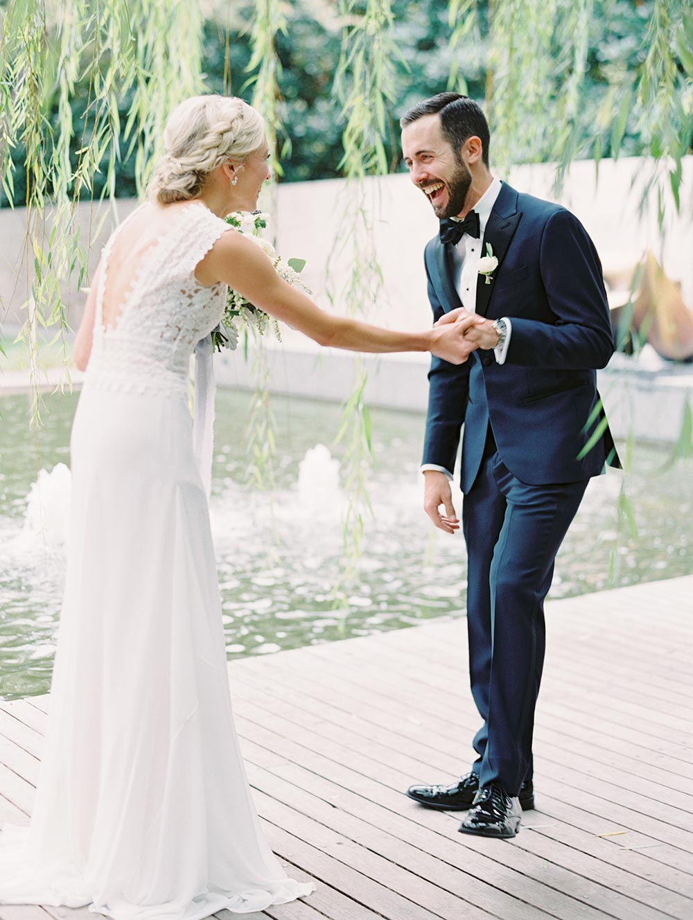 modern lace embroidered wedding dressed navy groom tux first look