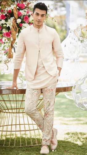 Motif-Pants-with-Short-Kurta-282x500 27 Latest Engagement Dresses for Men in India