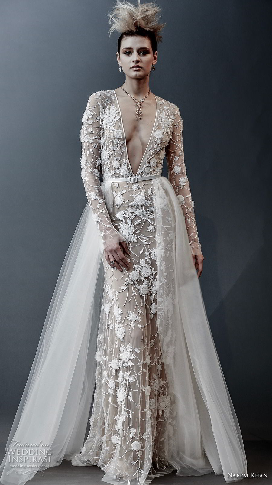 naeem khan spring 2019 bridal long sleeves deep v neck full embellishment sexy romantic sheath wedding dress a line overskirt keyhole back sweep train (3) mv