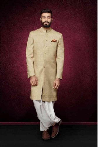 Golden-Sherwani-with-Dhoti-pants-334x500 27 Latest Engagement Dresses for Men in India