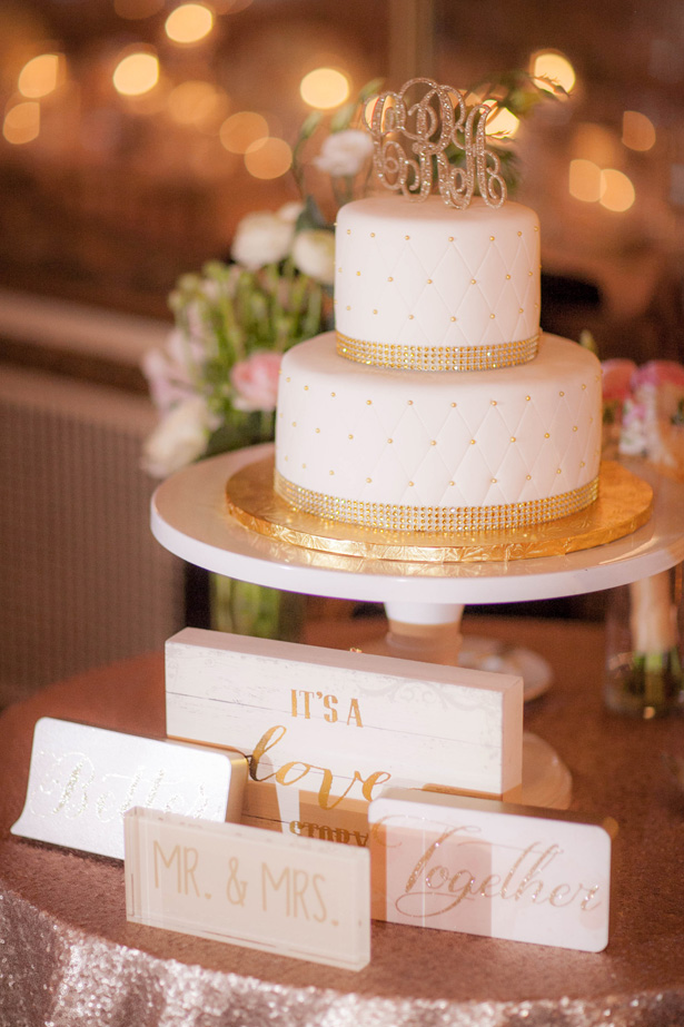 White Wedding Cake with Gold Accents - Clane Gessel Photography