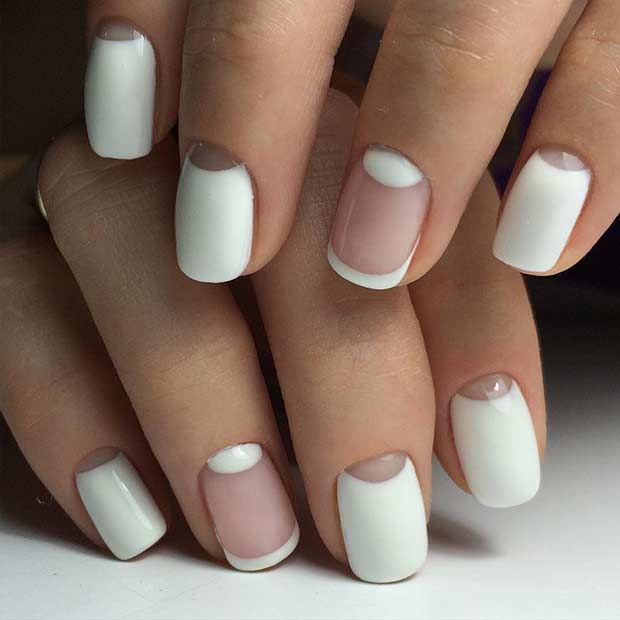 White Negative Space Nail Art Design