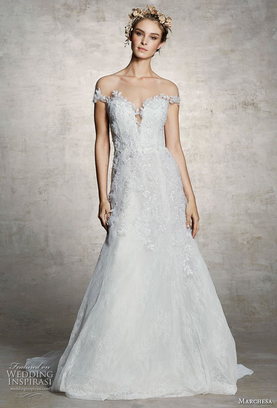 marchesa spring 2019 bridal off the shoulder plunging sweetheart neckline heavily embellished bodice romantic a line wedding dress chapel train (5) mv