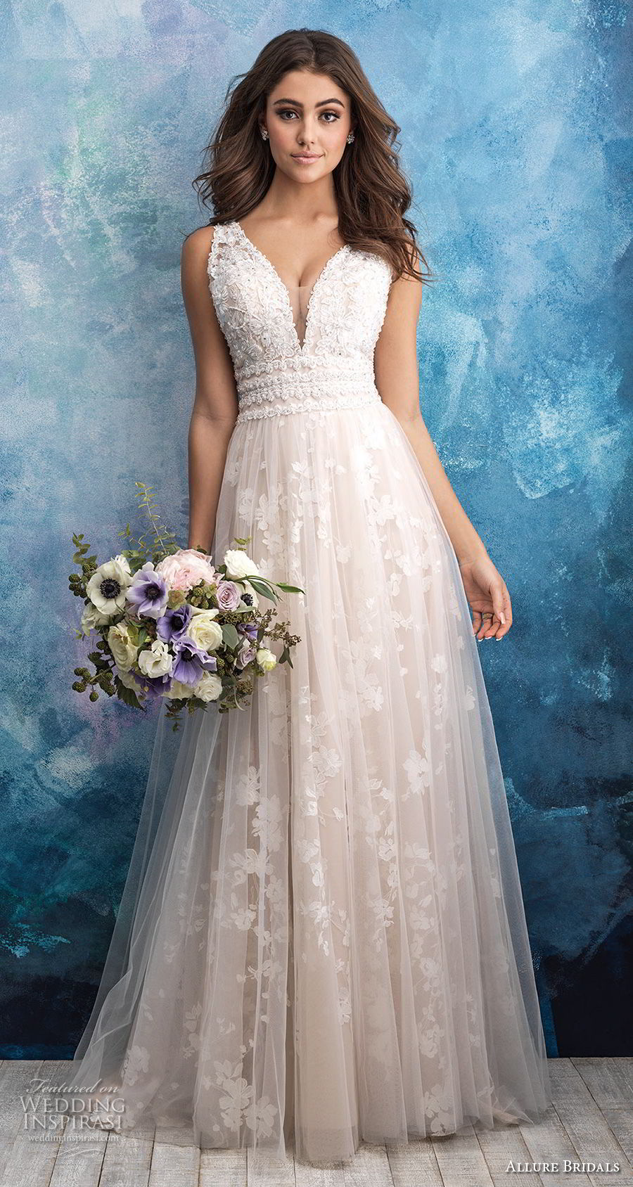allure bridals fall 2018 bridal sleeveless deep v neck heavily embellished bodice romantic a line wedding dress v back sweep train (16) mv