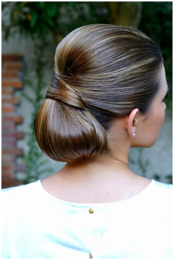 a low chignon hairstyle with a tight top and a twist is ideal if you have thick hair