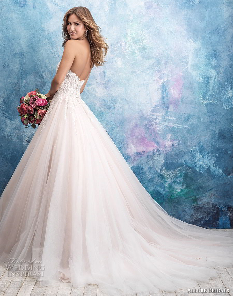 allure bridals fall 2018 bridal strapless sweetheart neckline heavily embellished bodice tulle skirt romantic blush a line wedding dress chapel train (3) bv