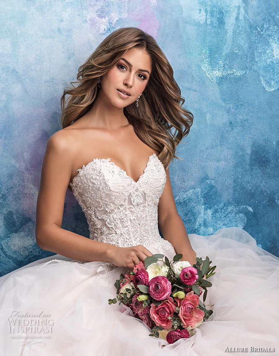 allure bridals fall 2018 bridal strapless sweetheart neckline heavily embellished bodice tulle skirt romantic blush a line wedding dress chapel train (3) zv