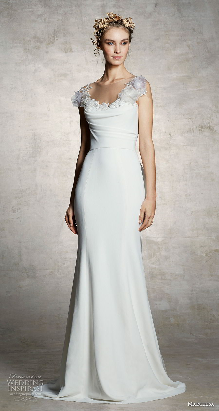 marchesa spring 2019 bridal sheer cap sleeves illusion bateau scoop neckline simple minimalist elegant trumpet wedding dress sweep train (11) mv