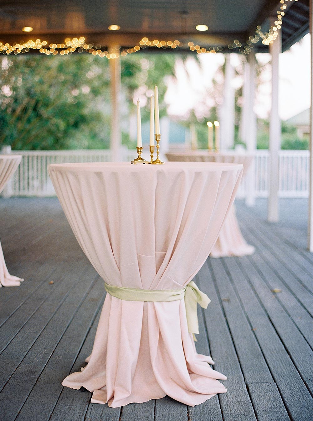 wedding cocktail hour pink linens