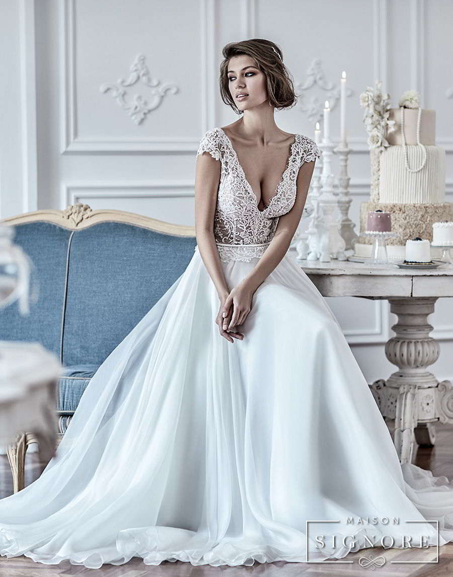 maison signore 2017 bridal cap sleeves deep v neck heavily embellished romantic sexy pastel blue soft a line wedding dress chapel train (duchessa) mv