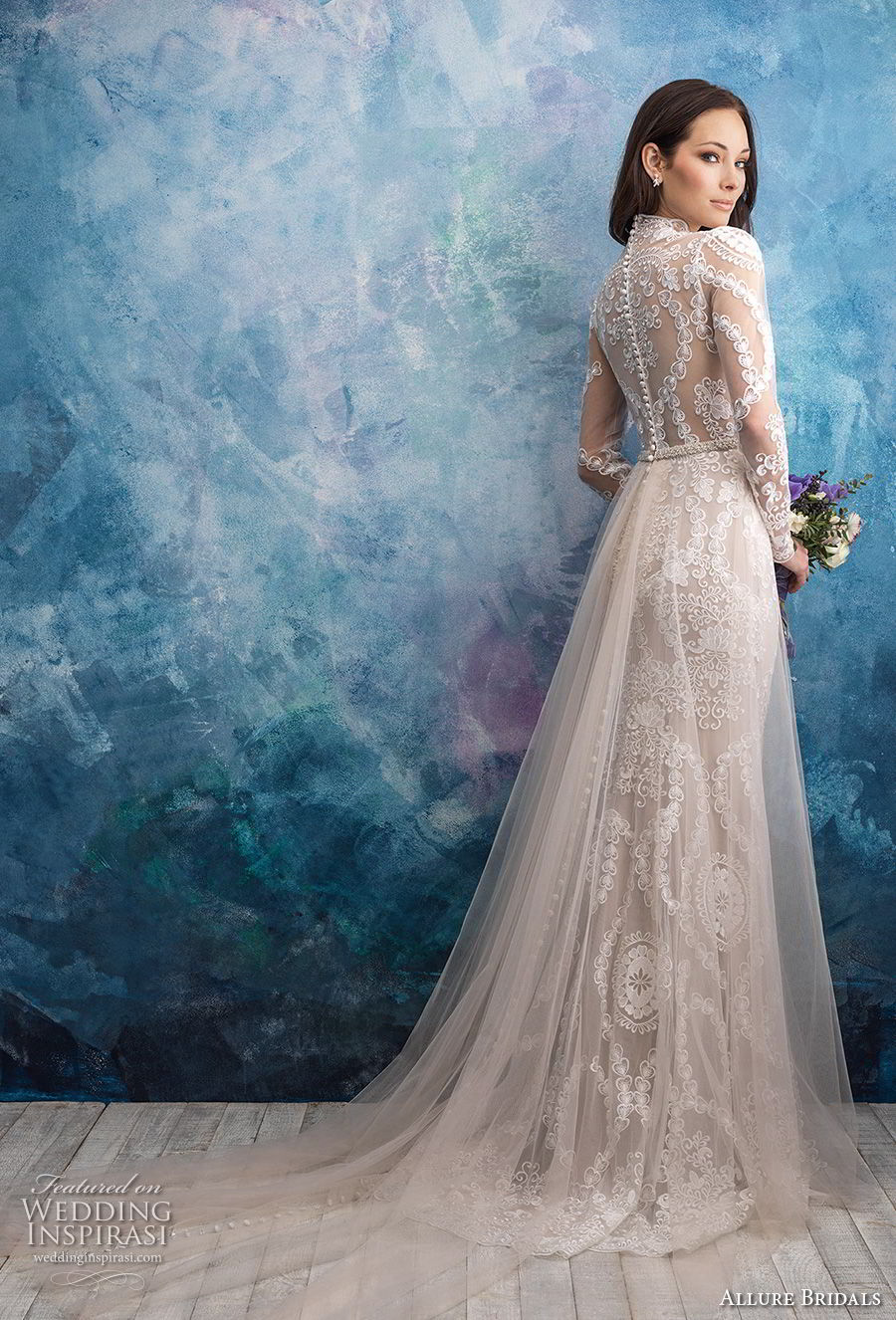 allure bridals fall 2018 bridal long sleeves illusion high neck sweetheart neckline full embellishment elegant fit and flare wedding dress a line overskirt lace back sweep train (4) bv