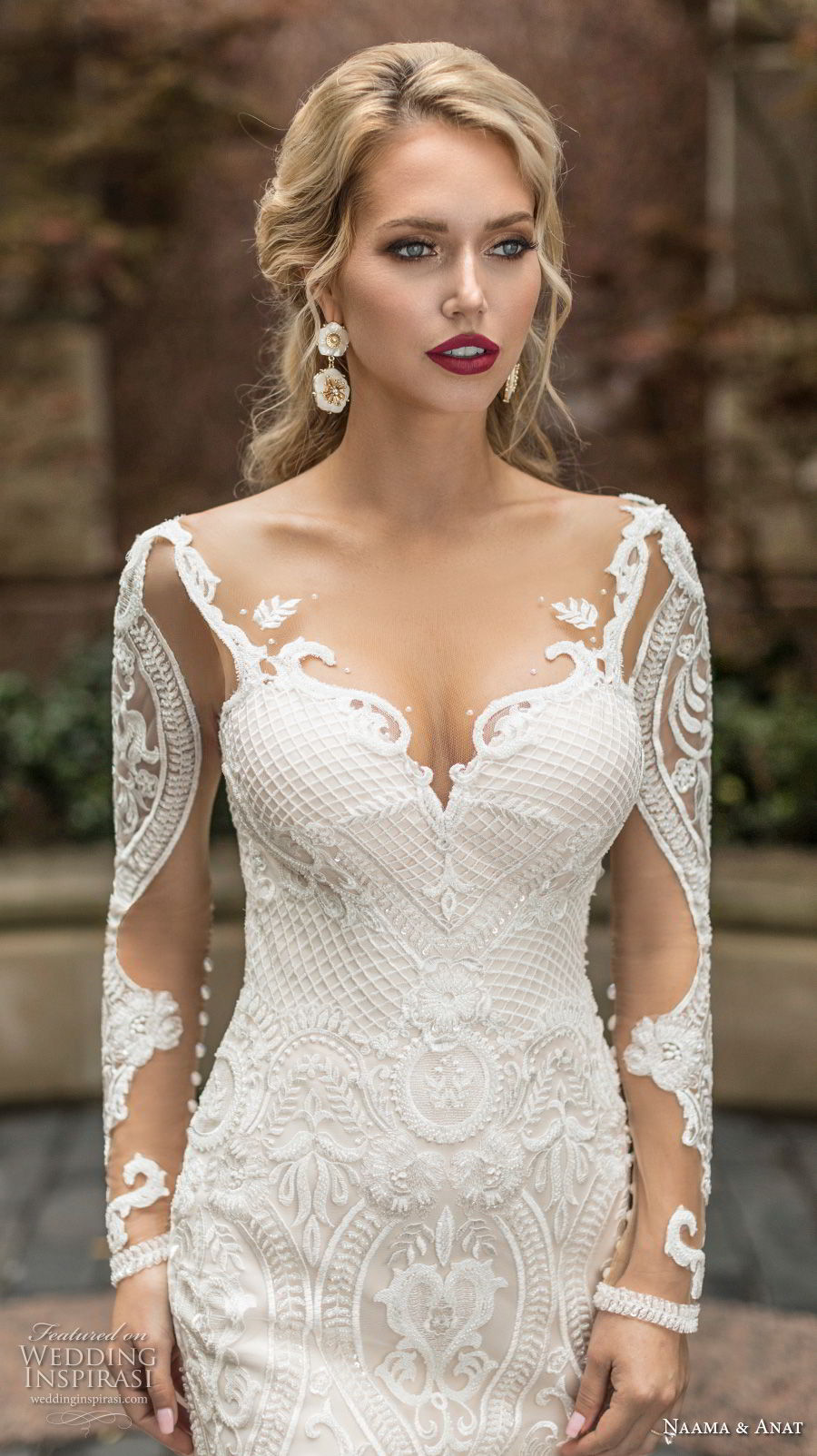 naama anat spring 2019 bridal long sleeves sweetheart neckline full embellishment elegant fit and flare wedding dress low open back chapel train (7) zv