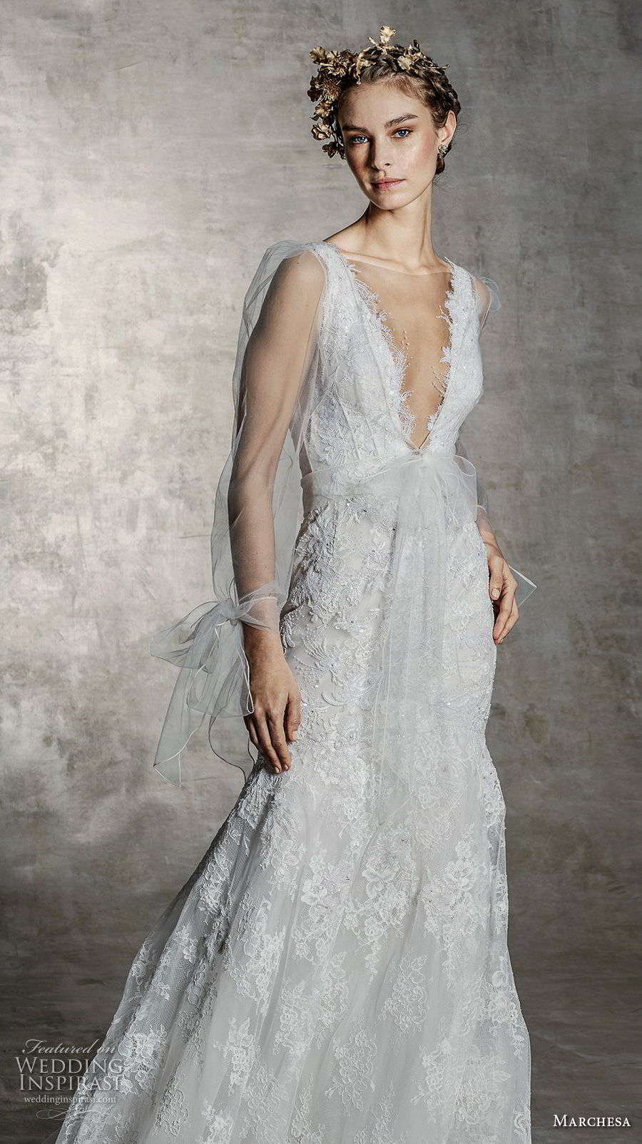 marchesa spring 2019 bridal long sheer sleeves deep v neck full embellishment romantic a line wedding dress (12) mv