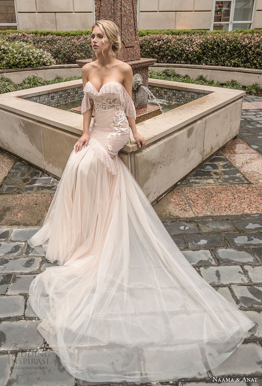 naama anat spring 2019 bridal off the shoulder sweetheart neckline heavily embellished bodice vintage blush mermaid wedding dress open back chapel train (6) mv