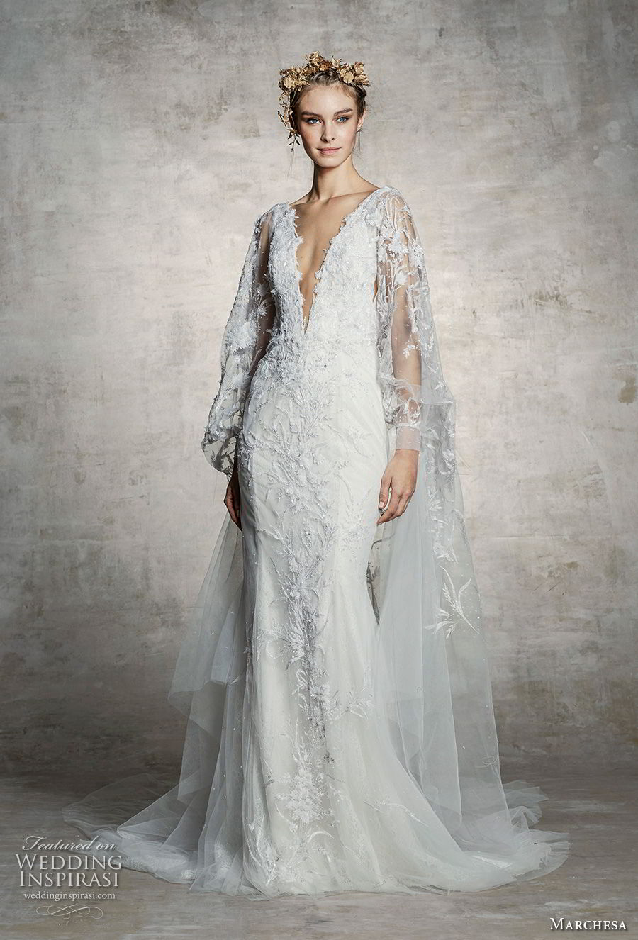 marchesa spring 2019 bridal long bishop sleeves deep v neck full embellishment elegant fit and flare wedding dress (15) mv