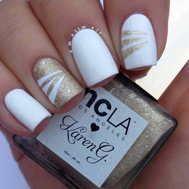 White and Gold Nail Art Design