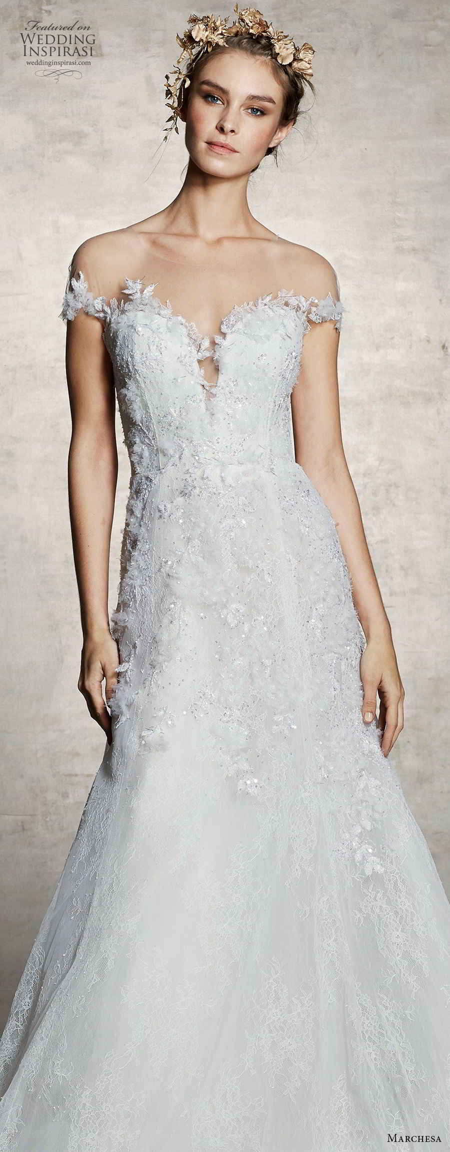 marchesa spring 2019 bridal off the shoulder plunging sweetheart neckline heavily embellished bodice romantic a line wedding dress chapel train (5) zv
