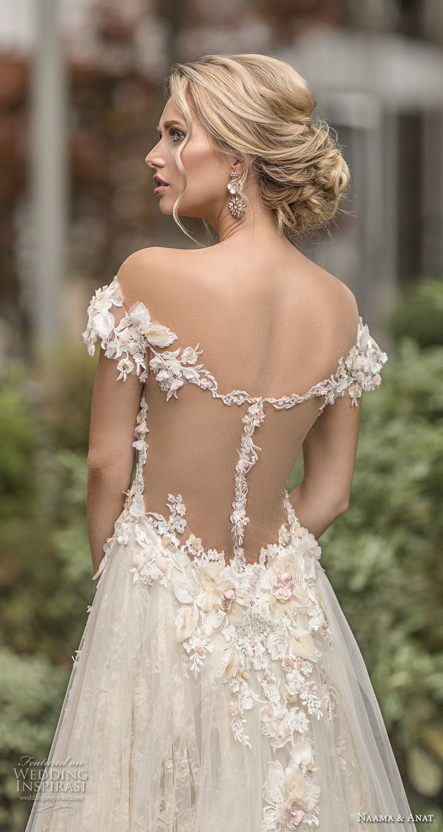 naama anat spring 2019 bridal off the shoulder deep plunging sweetheart neckline full embellishment romantic a line wedding dress sheer back chapel train (1) bv
