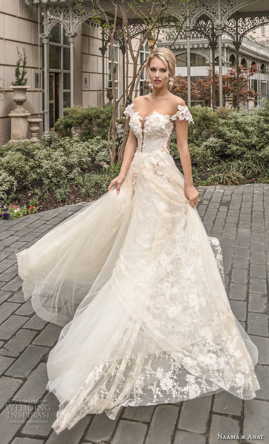 naama anat spring 2019 bridal off the shoulder deep plunging sweetheart neckline full embellishment romantic a line wedding dress sheer back chapel train (1) mv