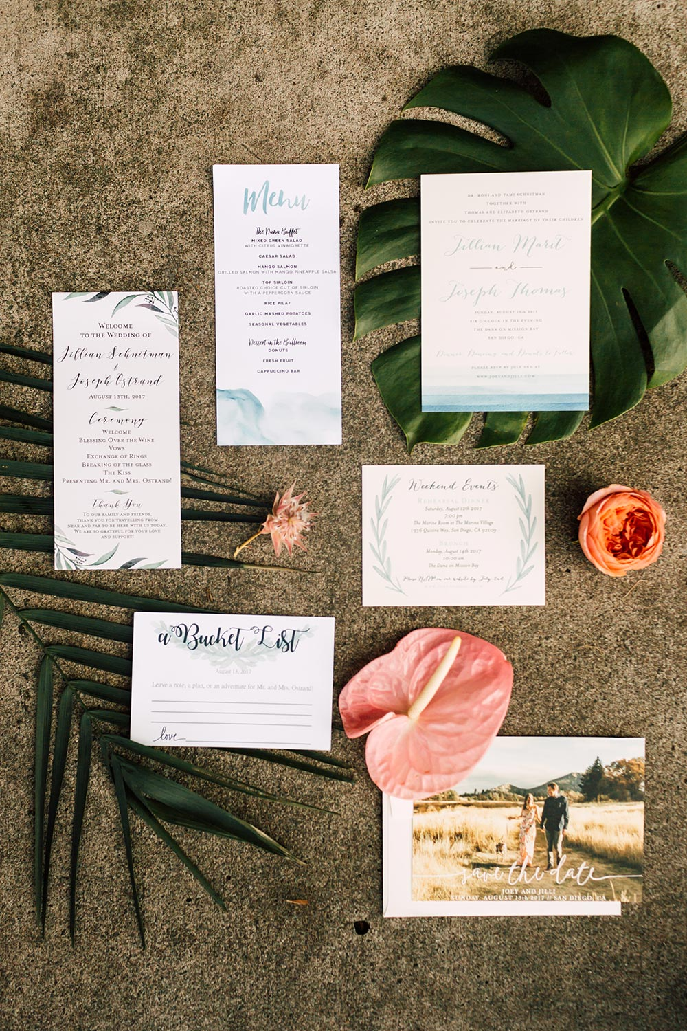 tropical modern wedding invitations with watercolor bleeding