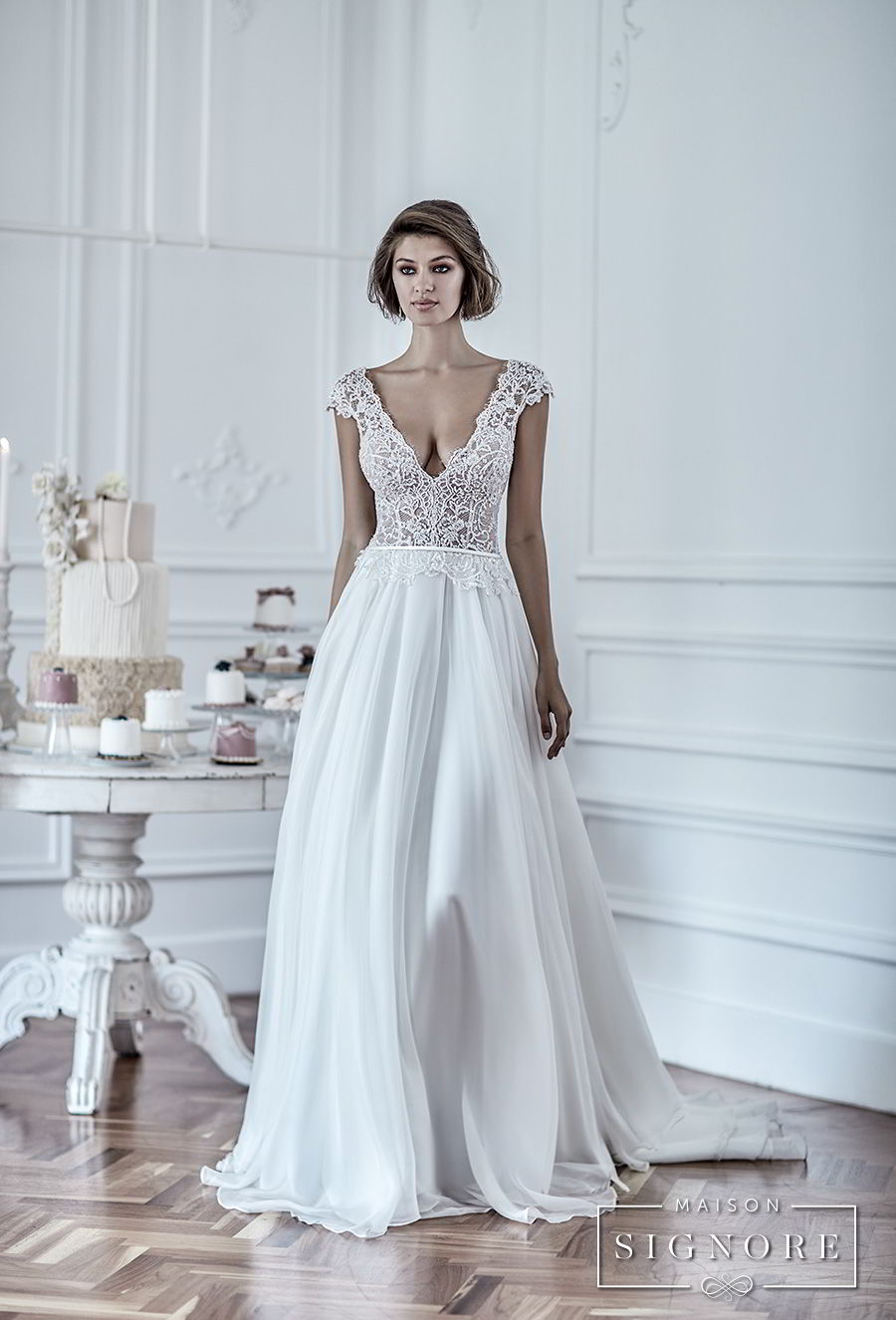 maison signore 2017 bridal cap sleeves deep v neck heavily embellished romantic sexy pastel blue soft a line wedding dress chapel train (duchessa) mv fv