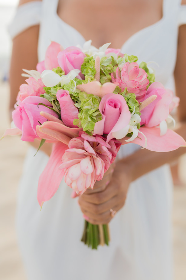 Pink tropical wedding bouquet - Karma Hill Photography