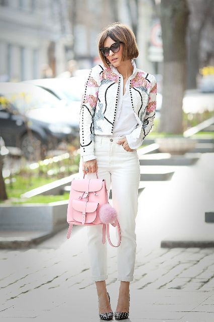 With white shirt, printed blazer, polka dot pumps and white cuffed pants